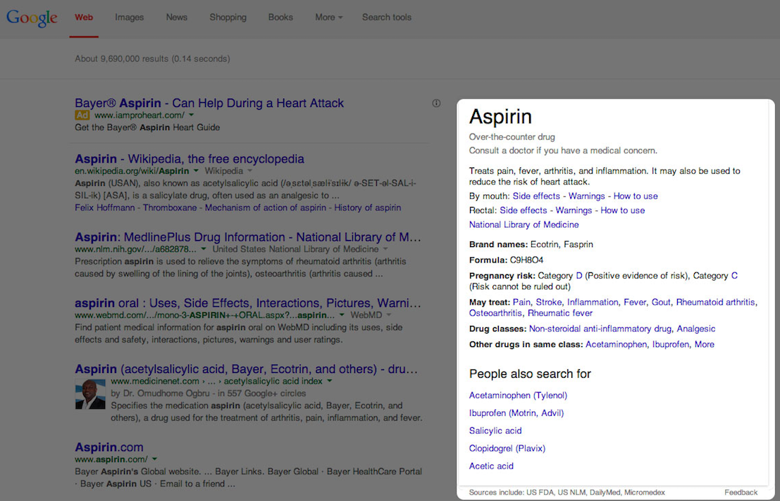 example of search results page for aspirin