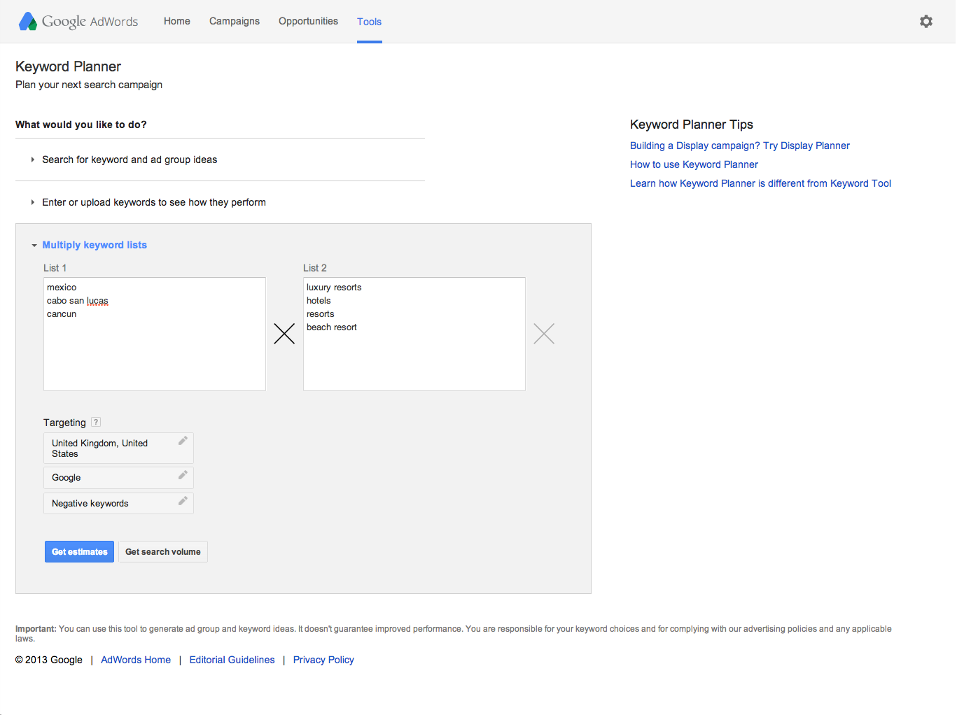 how to add search phrases to adwords
