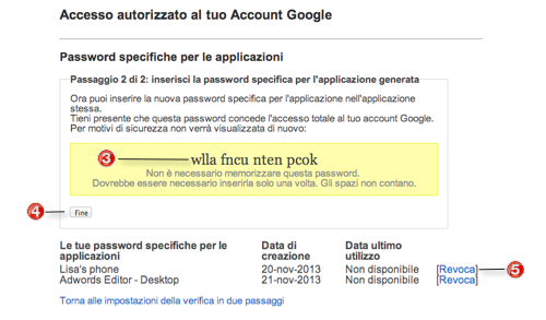 Generato password specifica
