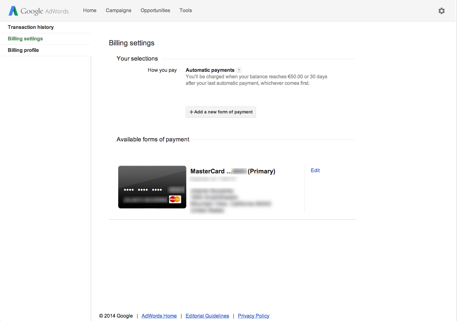 how to set payment threshold in google adwords