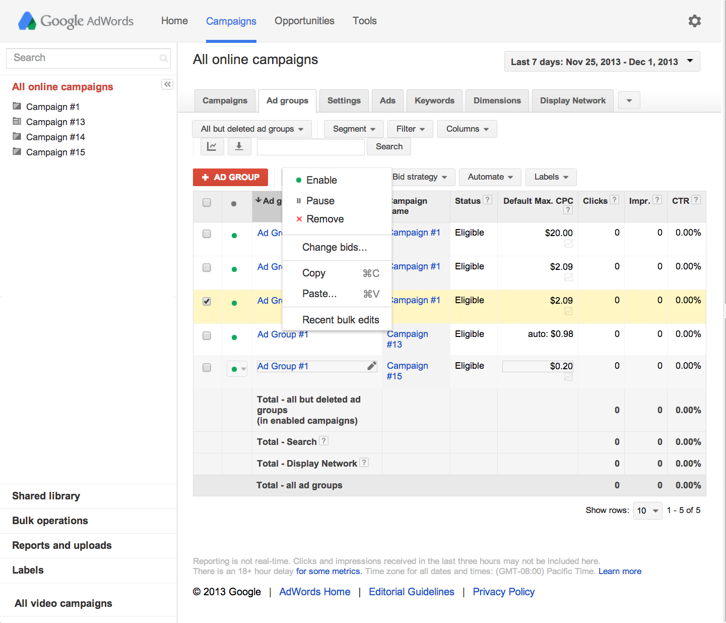 pause or resume your campaigns  adwords help