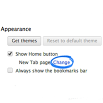 search settings appearance section change link screenshot