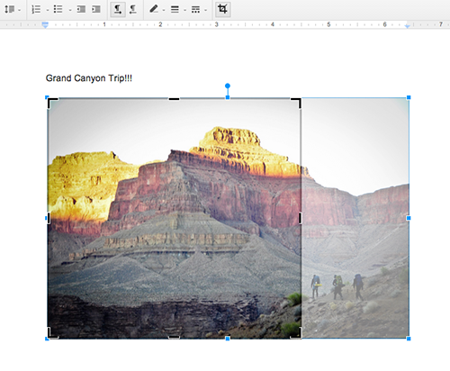 Cropping images in Google Docs