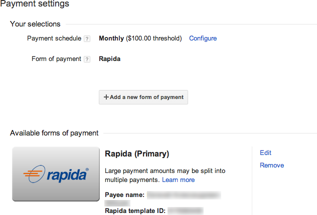 Rapida form of payment selected