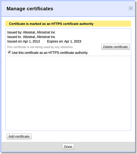 Manage https certificates