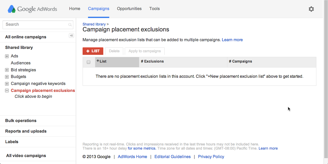 See the New placement exclusion list button