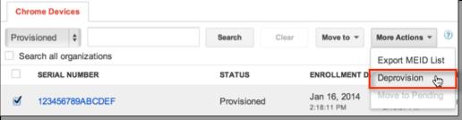 Deprovision Chrome devices setting
