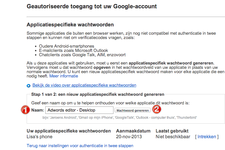 Application Specific Wachtwoorden Google-account