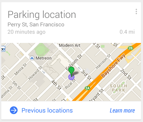 Parking location in Google Now