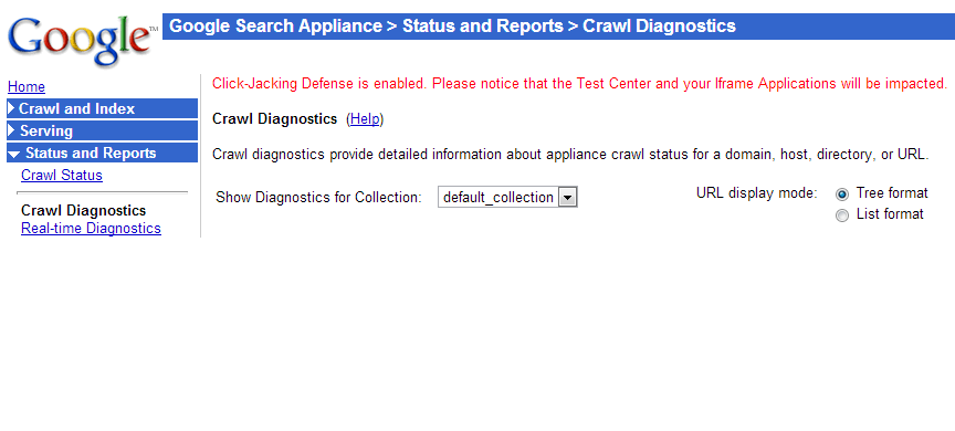 Admin Console Crawl Diagnostics page