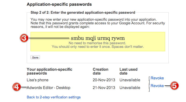 generated application-specific password