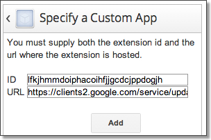 Specify a custom Chrome kiosk app