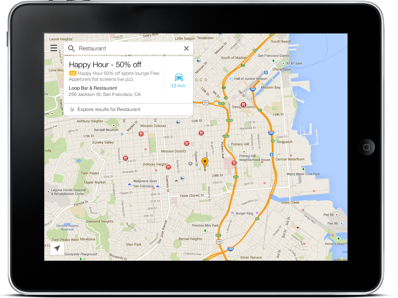 Google Maps for Mobile on tablet devices