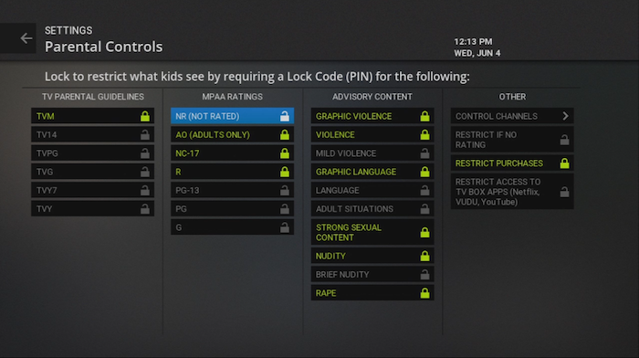 Require a lock code for content legacy Fiber TV