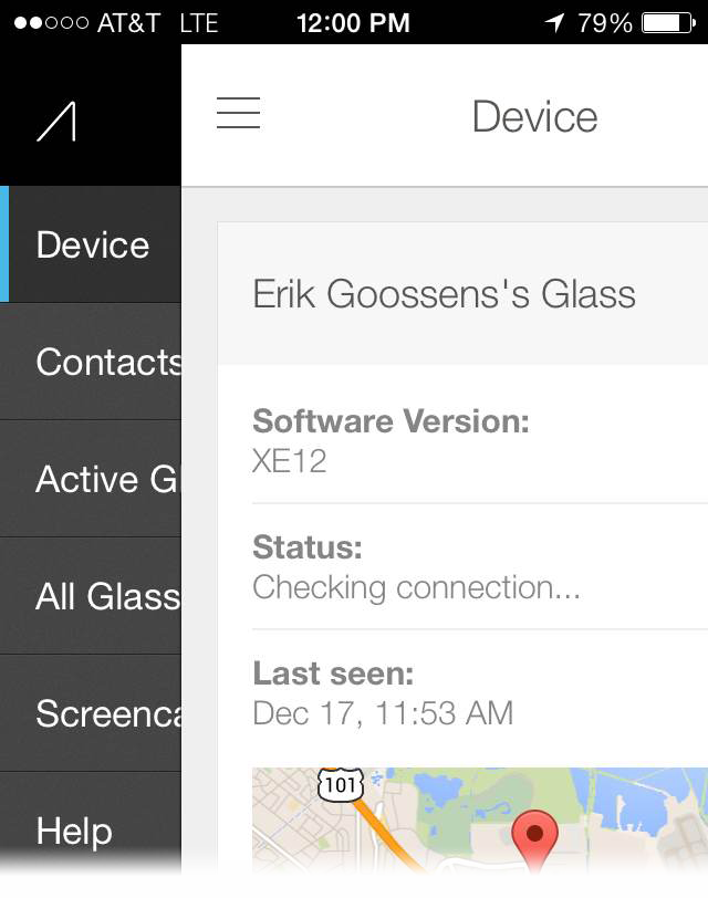 MyGlass for iOS device screen