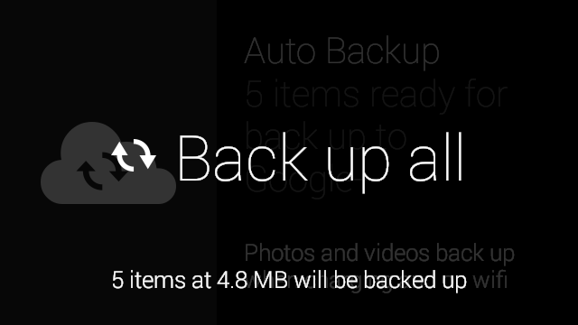 Back up all option from the Auto Backup settings card