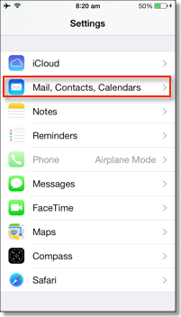 settings for mail, calendar, contacts on iphone
