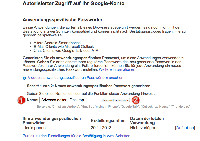 Application Specific Passwords Google-Konto
