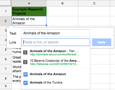 Hyperlink text in Google Sheets