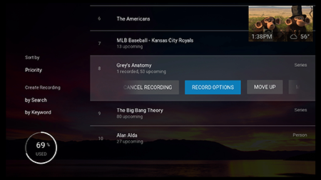Select record option type on Fiber TV