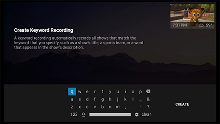 create a keyword recording on Google Fiber TV