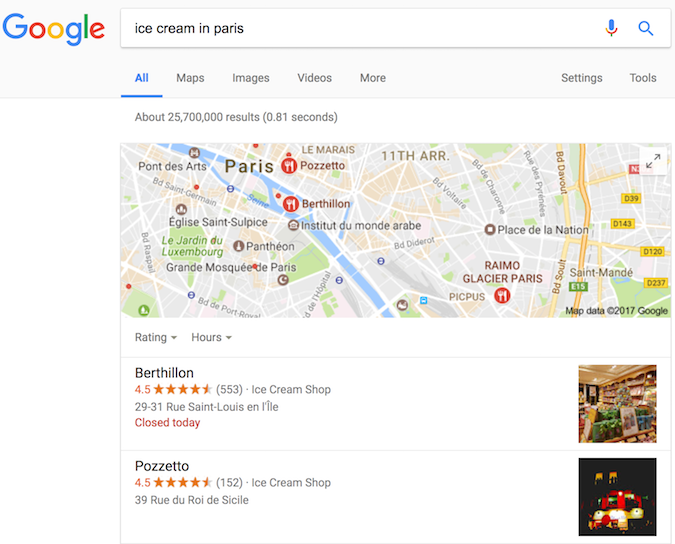 Google Search result for ice cream stores, showing rich results enabled by structured data.