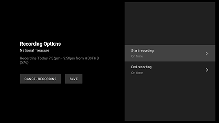 Google Fiber TV record options page