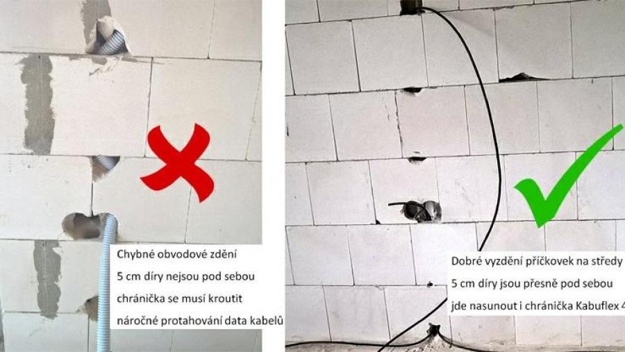 Protahování elektrických kabelů vápenopískovým blokem Sendwix