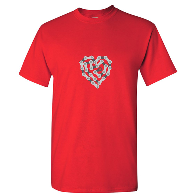 cycling love heart made up of bicycle chain t shirt men red