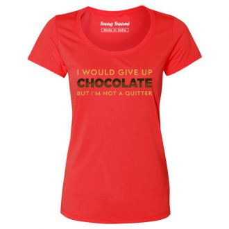 i would give up chocolate but im not a quitter foodie t shirt women red