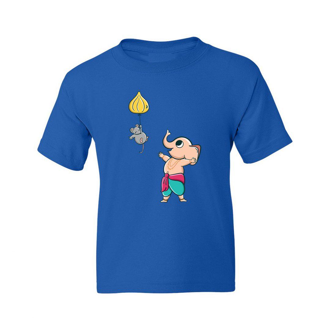Cute Ganesha Kids T Shirt Royal Blue
