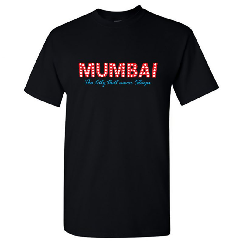 mumbai the city that never sleeps t shirt men black