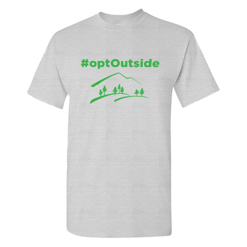 opt outside green hashtag naturelover t shirt men grey