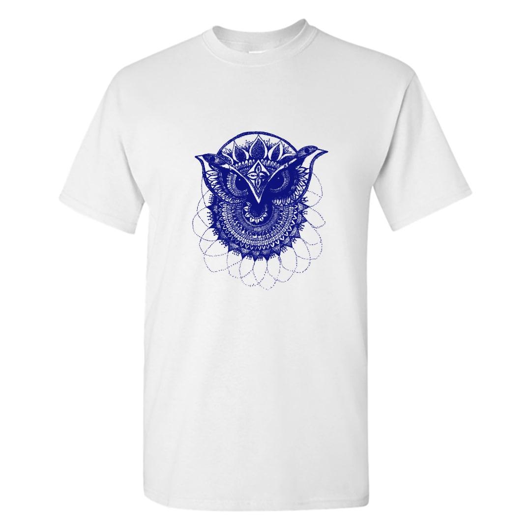Blue Owl Mandala Art T Shirt India Men White