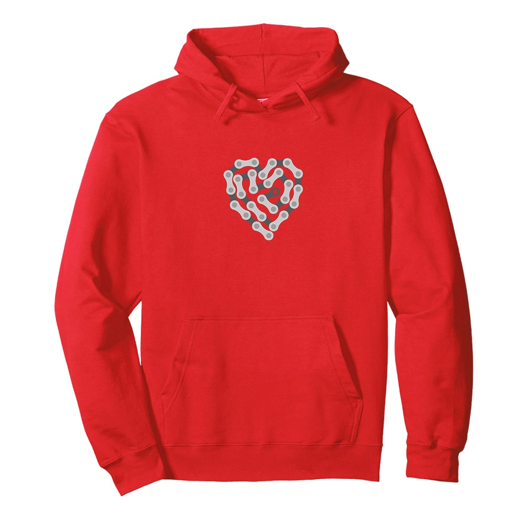 Bicycle Chain Heart Cycling Love Hoodie India Red Min