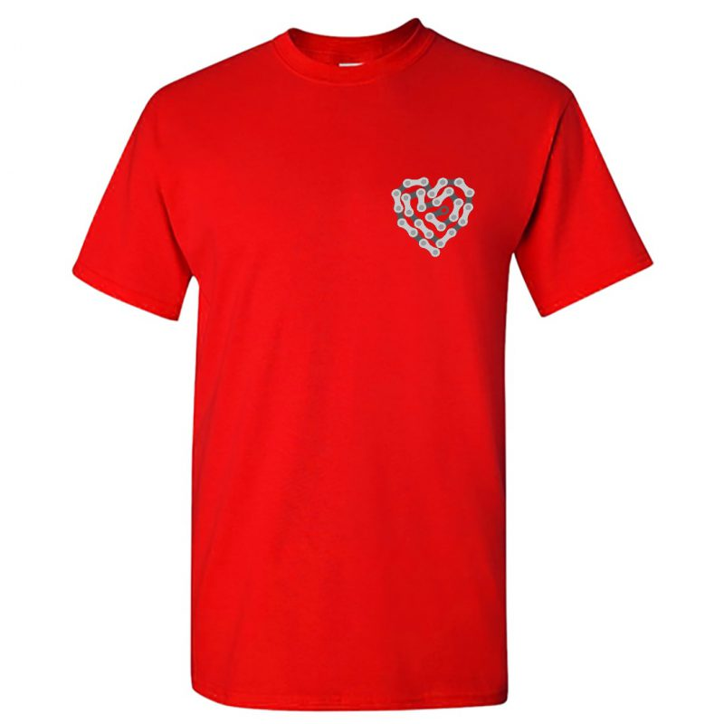 bicycle love heart cycling chain t shirt india men red min