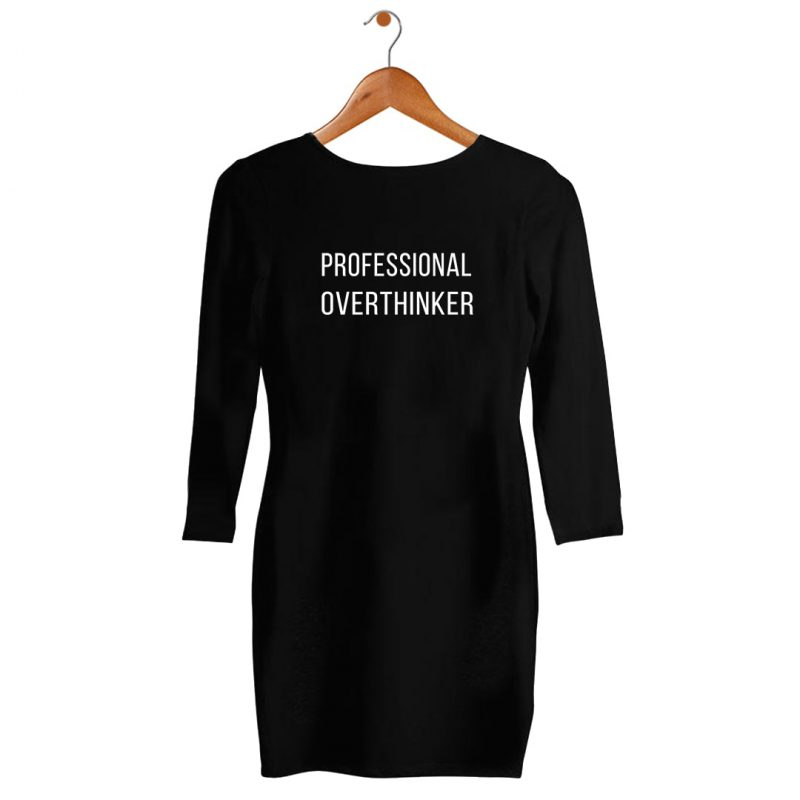 proffessional overthinker womens t shirt dress india black hanging min