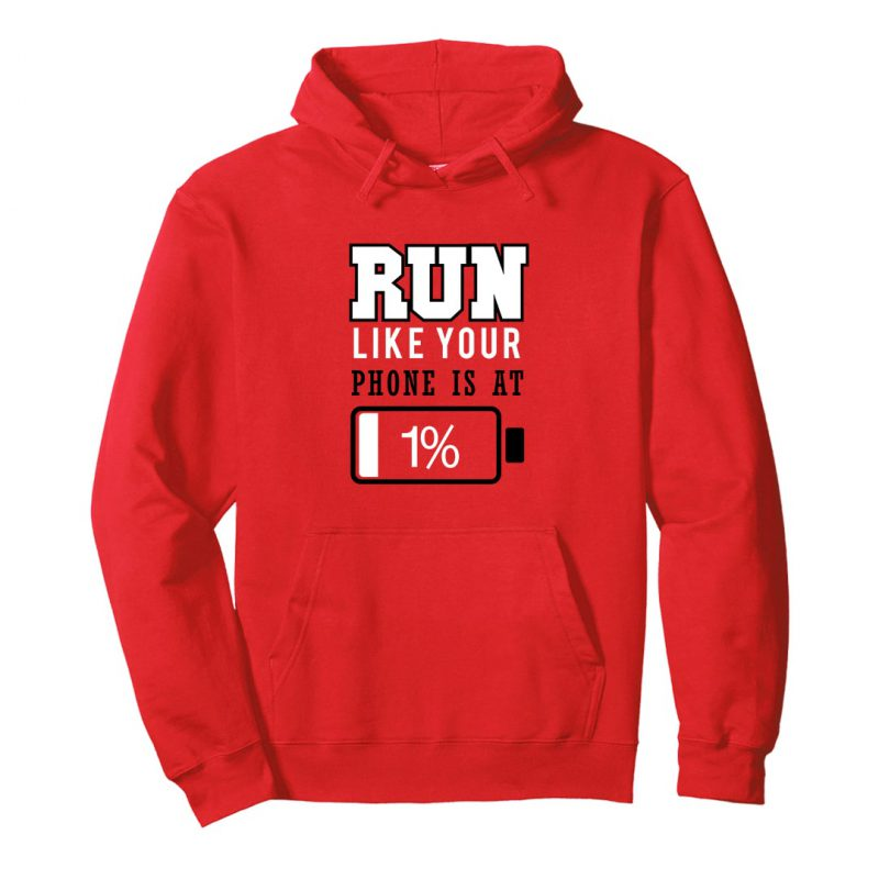 run like phone at 1 percent running hoodie india red min