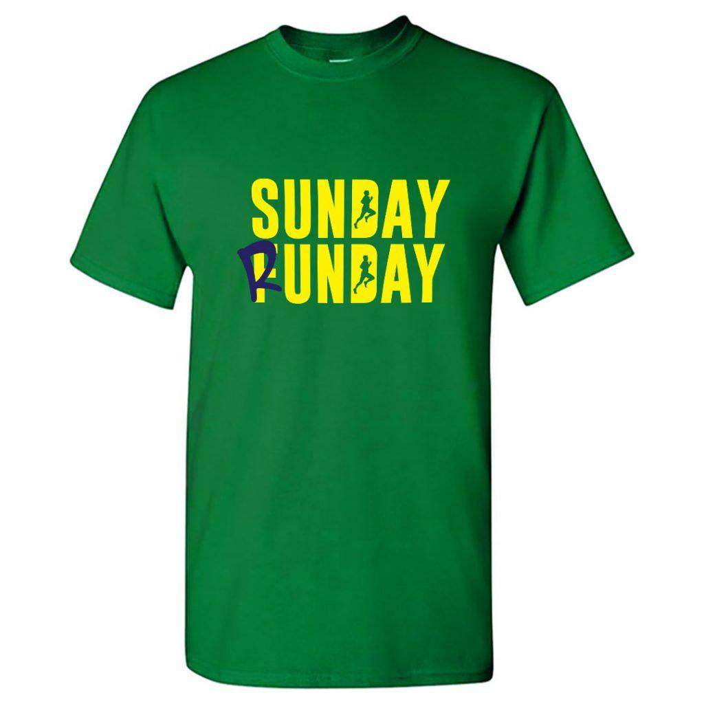 sunday run day cotton running t shirt for runners men green min