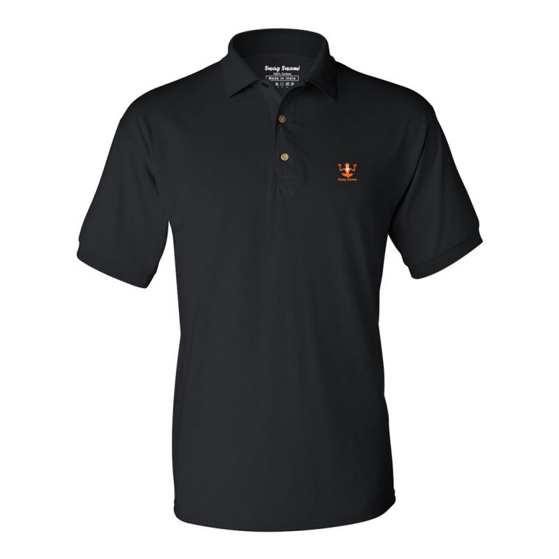 swag swami logo polo t shirt orange black min