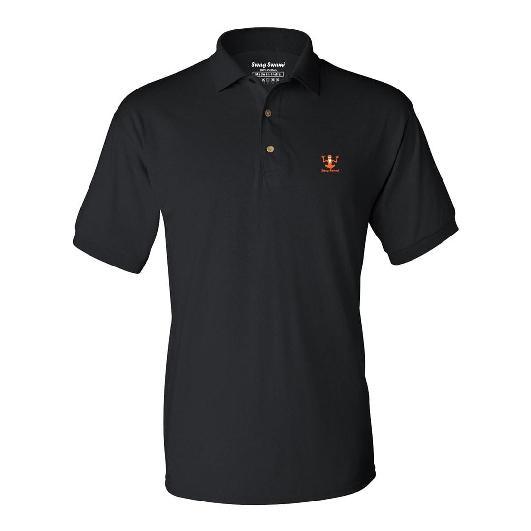 Swag Swami Logo Polo T Shirt Orange Black Min