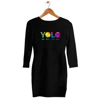 yolo colourfull womens t shirt dress india black hanging min