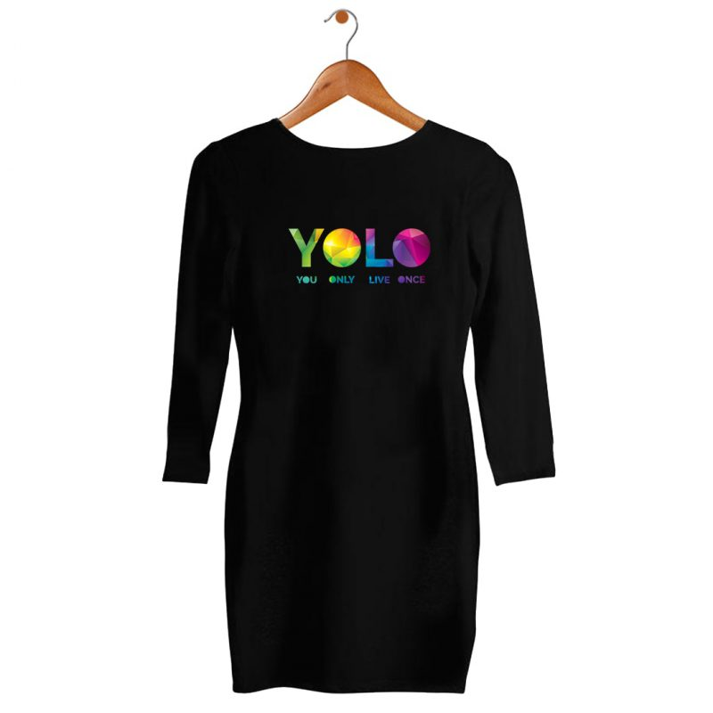 yolo colourfull womens t shirt dress india black hanging min