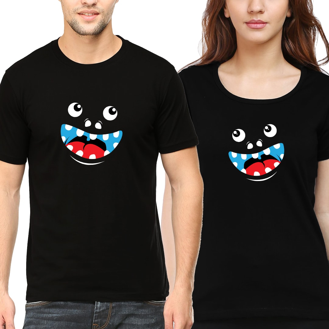 Funny Faces Matching Couple T Shirts India Black Min