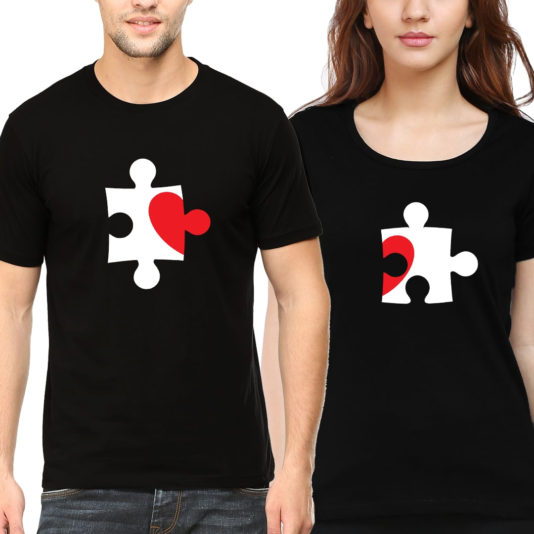 Jig Saw Heart Puzzle Matching Couple T Shirts India Black Min