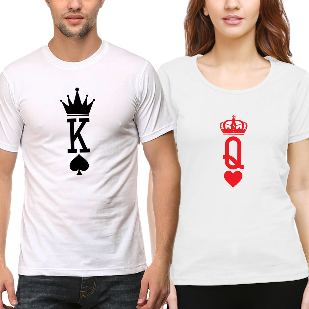 King Queen Matching Couple T Shirts India White Min