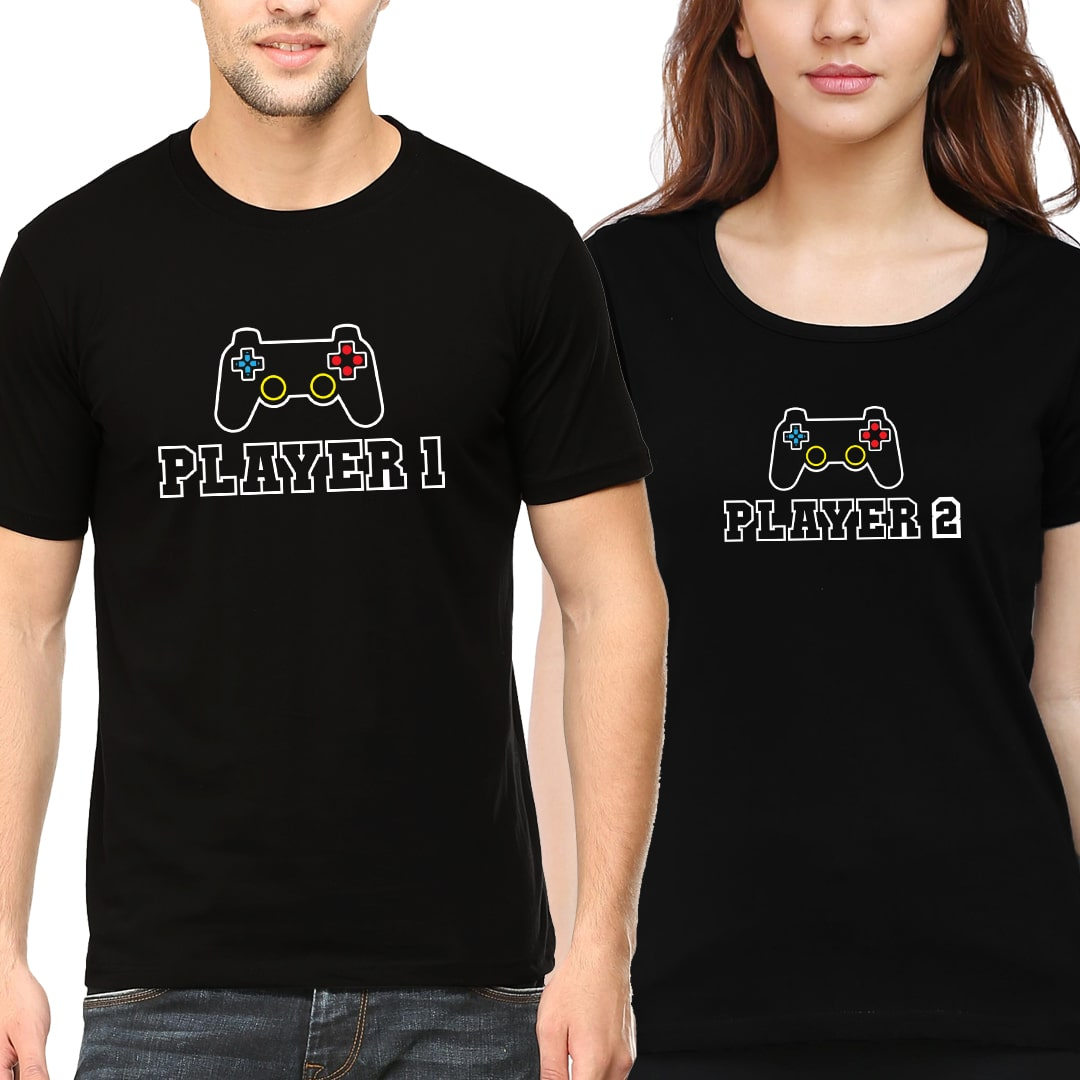 Two Players Gaming Matching Couple T Shirts India Black Min