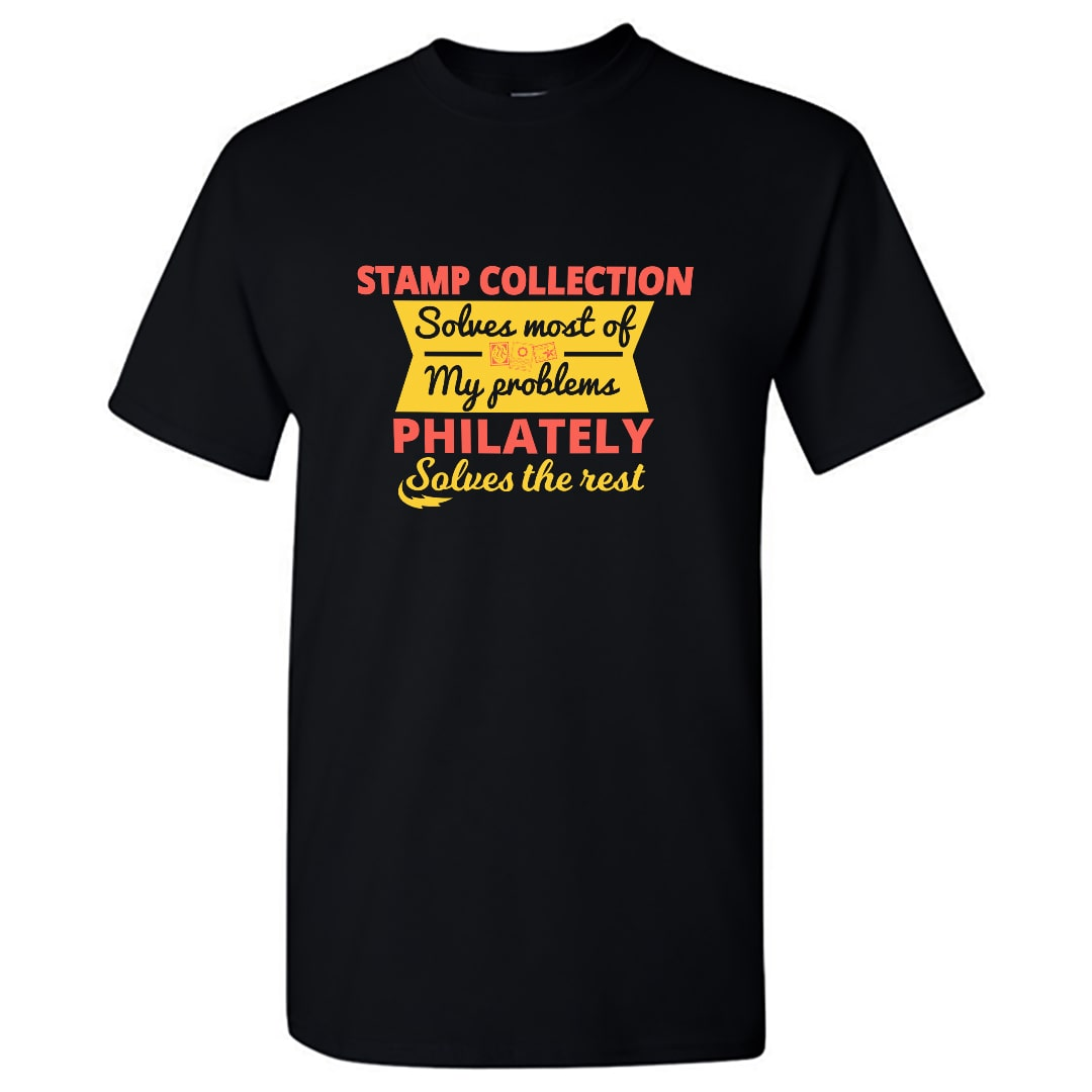 Stamp Collecting Solves Problems Funny T Shirt India Men Black Min