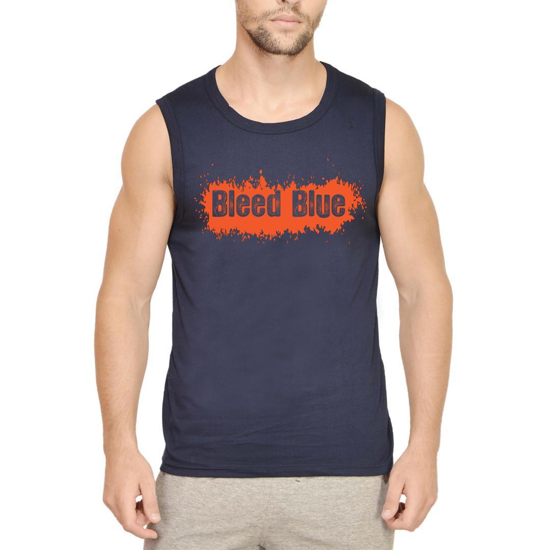 Bleed Blue Men Sleeveless T Shirt Navy Front