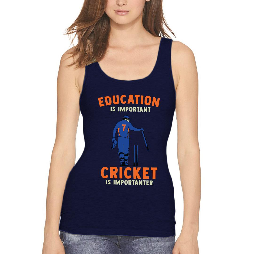 Education Is Important Cricket Is Importanter Women Tank Top Navy Front